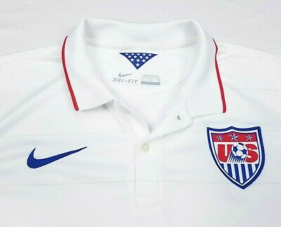 8edcf043add Nike Mens USMNT Authentic US National Soccer 2014 White Stripe Home Jersey  XL