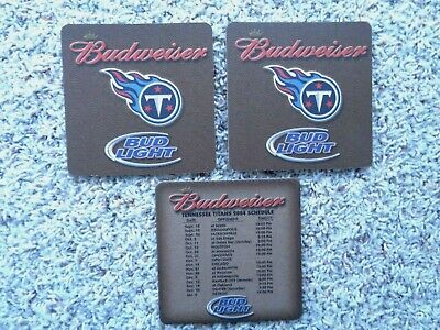 """3- 2004 Tennessee Titans Football 4"""" Schedule Coasters, Budweiser Beer"""
