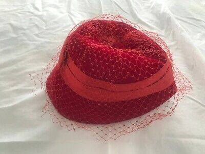 a4dab2b4d878f Vintage 1960 s Red Velvet Women s Cloche Hat Union Made