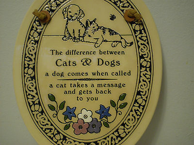 Genuine *TRINITY POTTERY*  Plaque *Cats & Dogs*  Handcrafted in U.S.A. ~ Vintage