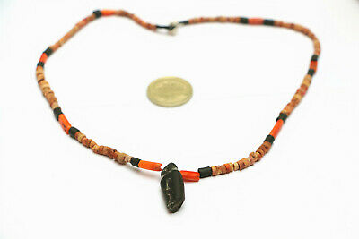 Pre Columbian BEADS Necklace shell Spondylus antique moche black stone centre