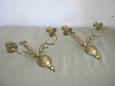 Elegant Vintage Pair Brass Wall 2 Arm Sconces Candle Holders, Taiwan