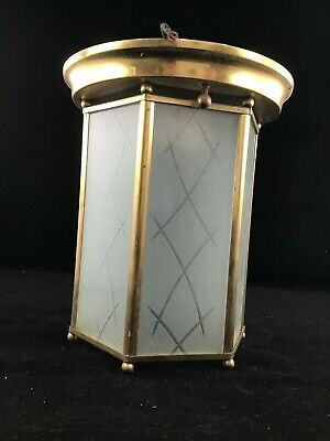 Antique Brass and Etched Glass  Ceiling Fixture   Hexagon Shape Beautiful