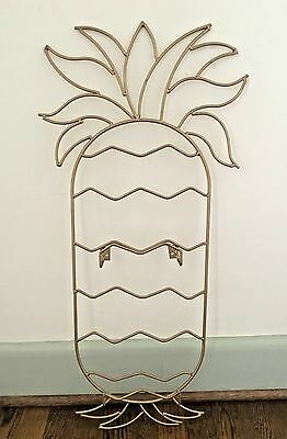 Vintage Gold Metal Pineapple Shaped Large Wall Hanging Plate Display Holder 30""