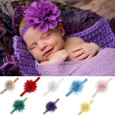 Newborn Baby Kids Girl Chiffon Hairband Infant Headband Flower Hair Band Wrap AU