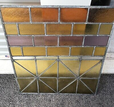 ~ ANTIQUE STAINED GLASS LANDING WINDOW ~ ARCHITECTURAL SALVAGE ~colorful Rare