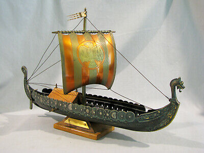 """Old Brass Model Of Denmark Viking Ship With Music Box - 16"""" - Music Box As Is"""