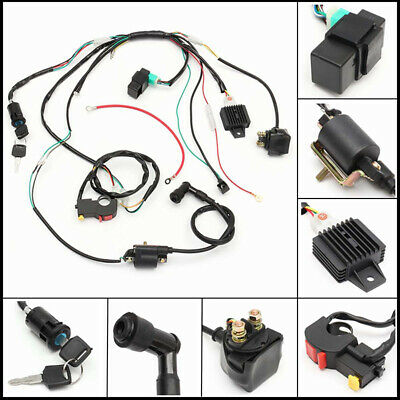 50 70 90 110cc wiring harness cdi coil assembly for atv electric quad kit  black