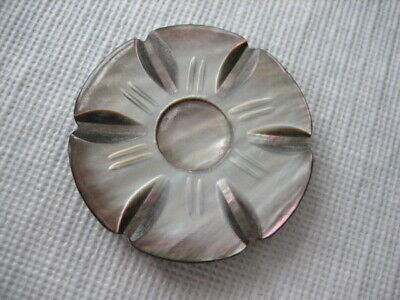 """Vintage Large 1-1/2"""" Carved Smokey MOP Mother Of Pearl Shell Button - PD10"""