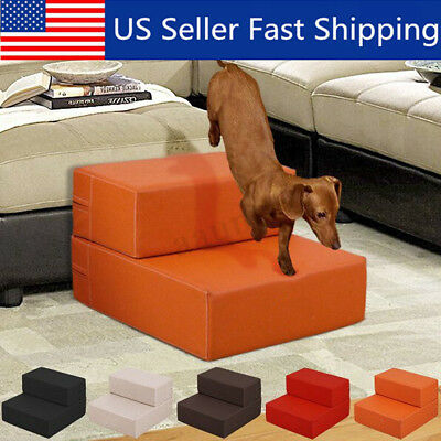 NEW Pet Stairs 2 Step Pure Color Dog Puppy Cat Sofa Bed Indoor Soft Ramp  US