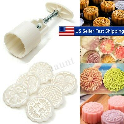 6 Style Stamps 50g Round Flower Moon Cake Mold Mould White Set Mooncake