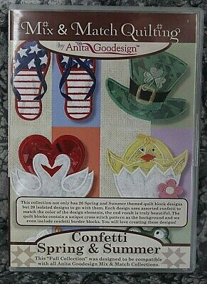 Anita Goodesign Confetti Spring & Summer Embroidery  Designs CD ,sealed