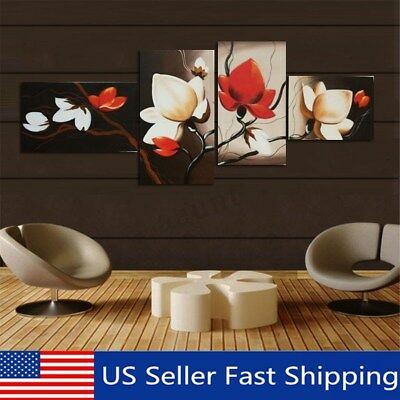 4 Panel Wall Decor Canvas Print Home Art Unframed Abstract Flower Painting  US