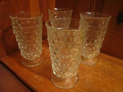 "Set of 4 Vintage 14oz Tumbler Footed 6""H Indiana Glass Whitehall Cube Cubist EUC"