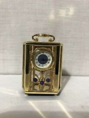 Bulova Antique Carrollton Miniature Brass Carriage Clock B0400