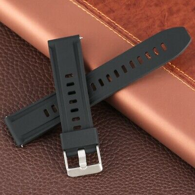 Durable Watch Band Strap 18MM/20MM/22MM/24MM Pin Buckle Rubber Black