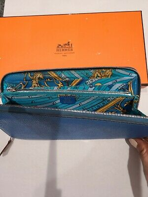 Authentic HERMES AZAP Long Silk In Zip Around Long Wallet Leather BLUE