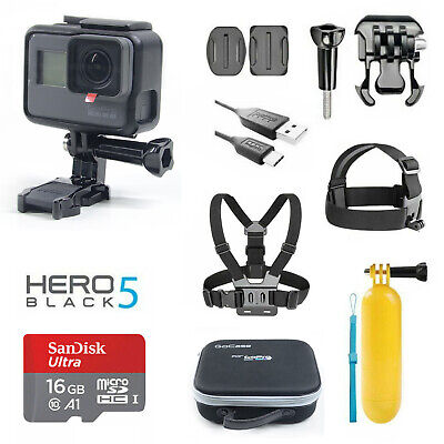 GoPro HERO5 Black + Sports Accessories + Camera Case + SanDisk Memory Card