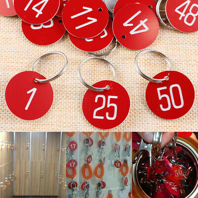30mm Rim Plastic Metallic Number Tag Key Ring 50 Pieces-Red-1 to 50