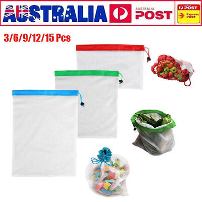 12/15x Eco Friendly Reusable Mesh Produce Bags Superior Double-Stitched Strength