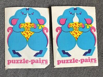 Vintage Mice Puzzle Pair Stickers, 1983, Illuminations Sticker Power, Limited Ed