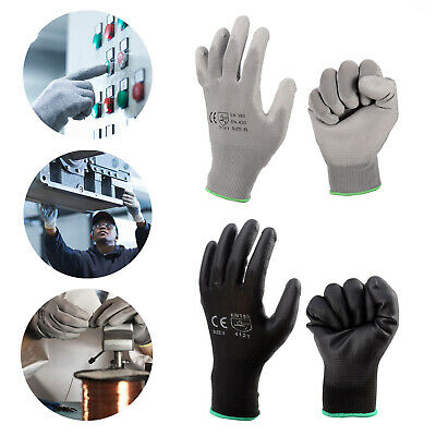 12-24 Pairs Nylon Pu Coated Safety Work Gloves Garden Grip Builders