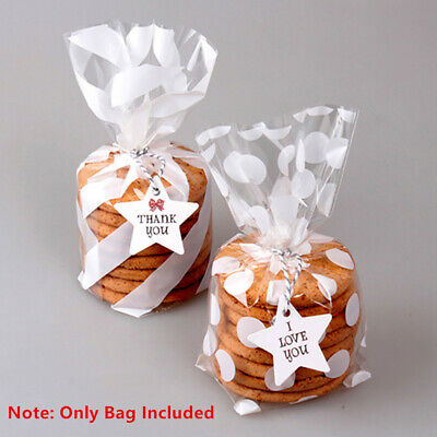 50 Polka Dot Plastic Bag Cookie Candy Sweet Loot Gift Package Bags Party Wedding