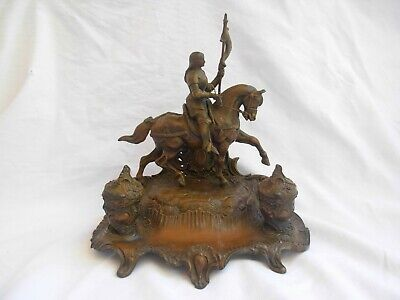 ANTIQUE FRENCH SPELTER INKWELL,JOAN OF ARC,SIGNED,LATE 19th CENTURY.
