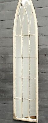 Large Shabby Chic Metal Arch Aged Home Wall Mirror Floor Garden Mirrored Arched