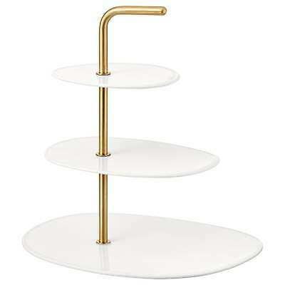 4xIKEA FORADLA Tableware Serveware Serving dish stand three tiers white brass
