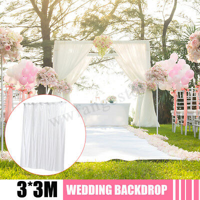 White Ice Silk Wedding Party Stage Backdrop Swag Drape Sheer Background
