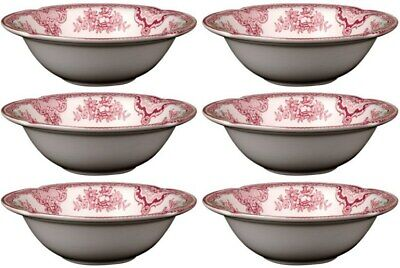 "JOHNSON BROS OLD BRITAIN CASTLES PINK 6 x CEREAL BOWLS 15.5cm / 6"" - NEW/UNUSED"