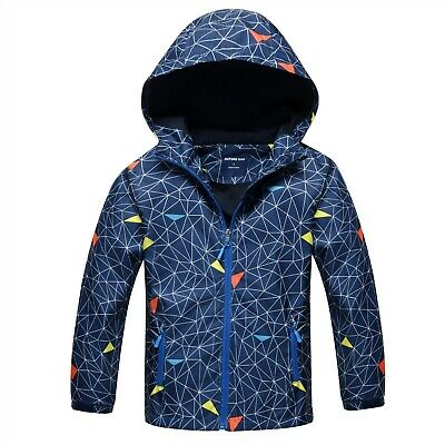 Girls/Boys Kids Hooded Fleece School Lined Jacket Waterproof Raincoat Age 2-12yr