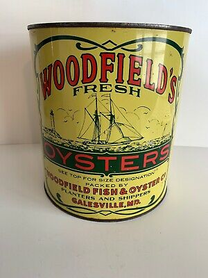 Gallon Oyster Tin/Can Woodfield Fish & Oyster CO