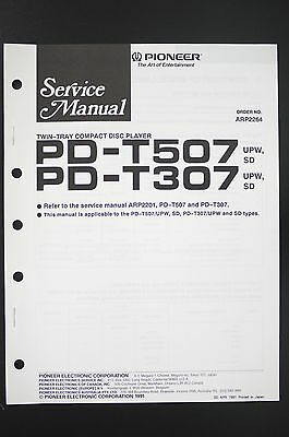 Pioneer PD-T507/T307 Original CD Player Service Manual/Instructions/Wiring