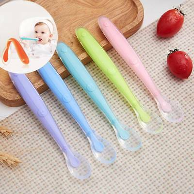 Silicone Baby Feeding Spoon Weaning Soft Long Handle Spoon Kids Tableware New