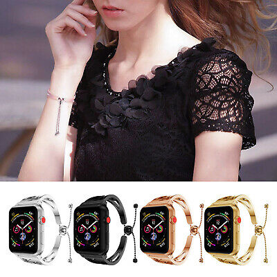 Girl Lady's SS Steel Wristband Metal Strap For Apple Watch 4 3 2 38/40/42/44mm