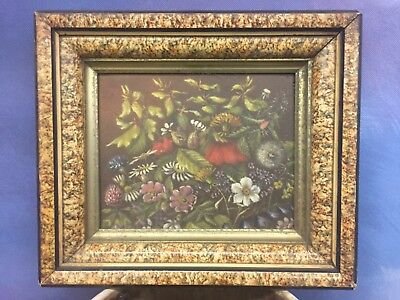 Late 19c oil on artist board, unsigned floral in period frame