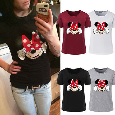 Womens Disney Minnie Mouse T-shirt Blouse Tops Casual Summer Fitted Tee Shirts