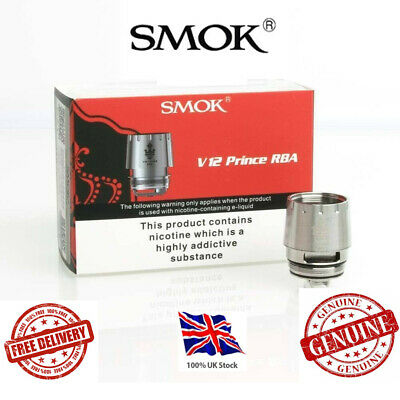 Smok TFV12 Prince Tank RBA Coil V12 PRINCE RBA + Glass 100% Genuine UK Authentic