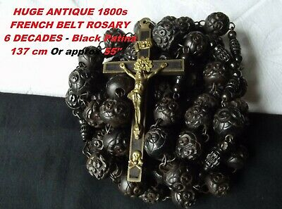 Large-XL Antique French Victorian Jesuit's Belt Rosary Black Wood & Bronze Cross