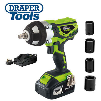 "Draper 01031 Storm Force 20V Cordless 1/2"" Drive Impact Wrench Gun With Sockets"