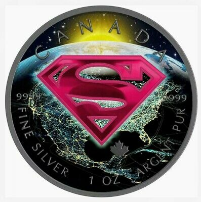 2016 Canada Maple Superman Earth Colorized Ruthenium 1oz .9999 Silver Coin