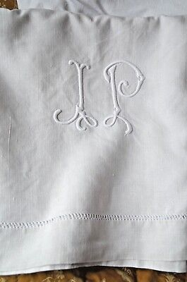 """Antique French pure floppy linen JP monogrammed dowry trousseau sheet, 80"""" wide"""