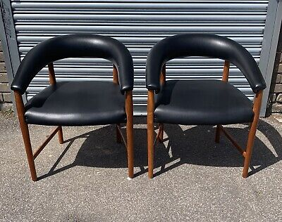2 Vintage Retro Mid Century Teak Tub Chairs. DELIVERY AVAILABLE