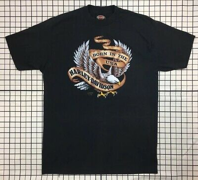Vintage 1990 HARLEY DAVIDSON 3D EMBLEM BORN IN THE USA t shirt XL 90s HAWAII