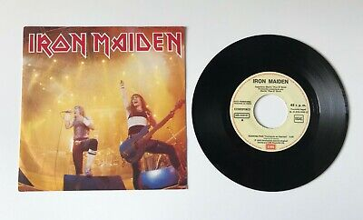"IRON MAIDEN Running free live 7"" single 45t Spain PROMO print label Spanish 1985"