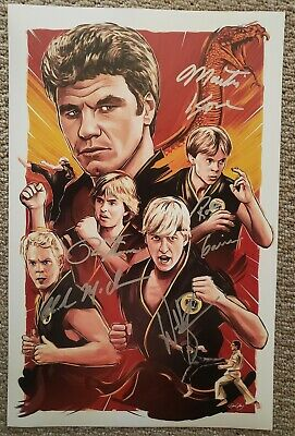 11x17 signed by Chad McQueen, Martin Kove & William Zabka in The Karate Kid.