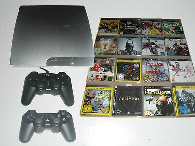 PS3 Slim 160GB Konsole + 2 Controller + 5 Spiele Gratis * Playstation 3