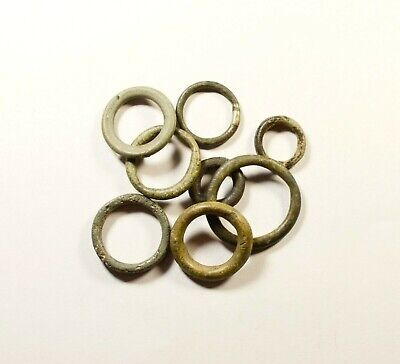 Exchange Before Coins - Rare Lot Of 8 Celtic Bronze Proto-Money Rings -10